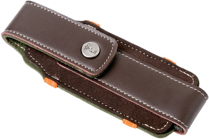 Opinel sheath L, leather and canvas fabric
